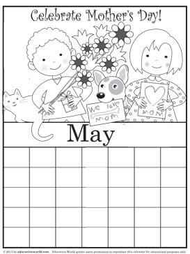 Coloring pages for the month of may Preschool Crafts