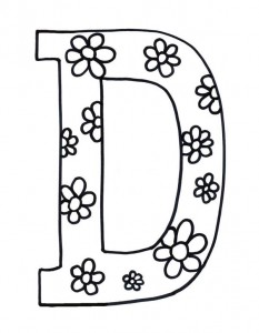 Flowered-Letter-D-Coloring-Page