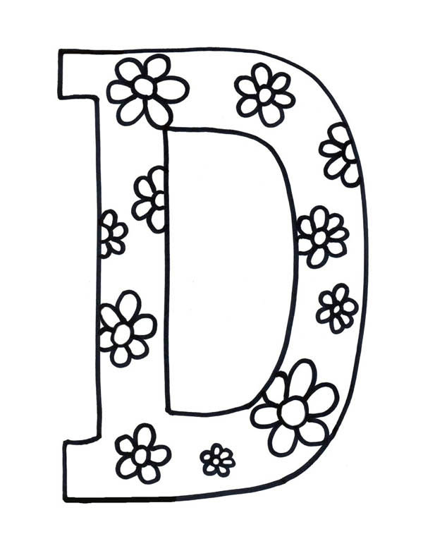 Flowered letter d coloring page preschool crafts for D coloring pages preschool