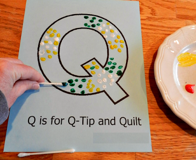 Letter Q -Tip Painting - activity
