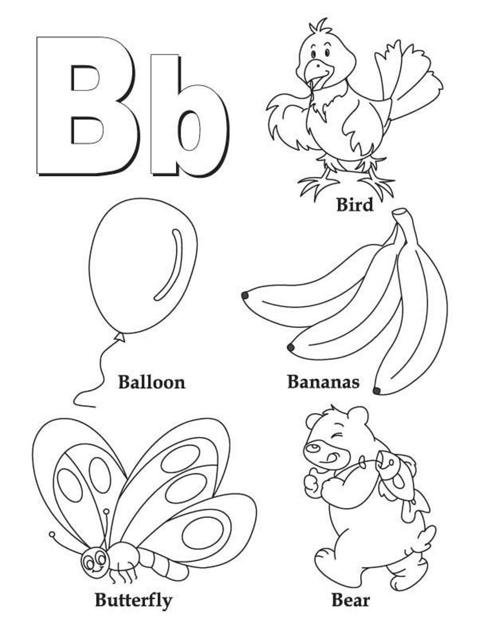 Letter b coloring pages preschool and kindergarten for Free printable alphabet coloring pages for kids