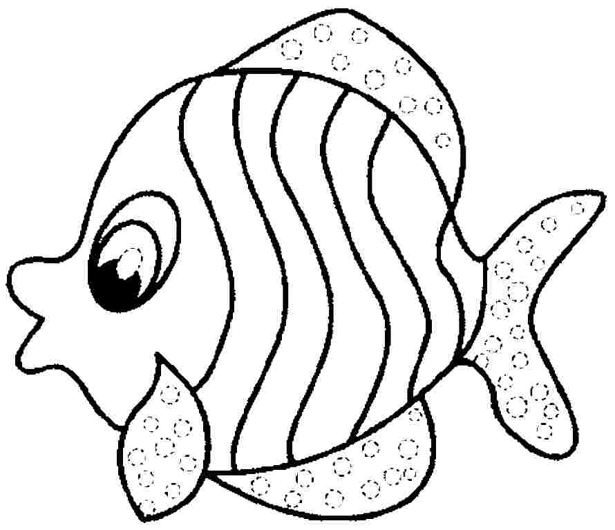 Fish coloring pages for preschool preschool and kindergarten for Printable fish coloring pages