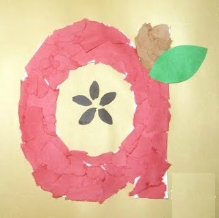 apple torn paper letter a craft for preschool