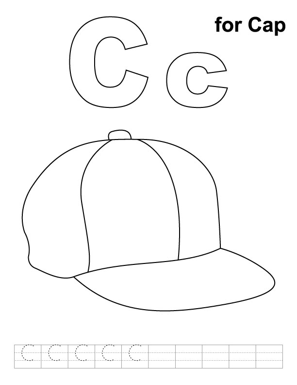C for cap coloring pages for kids preschool crafts for Cap coloring page