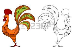 coloring-page-of-folk-rooster-on-a-white-background