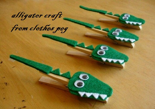 crocodile craft activity from clothes peg for decoration or preschool
