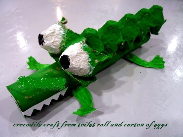 crocodile craft from carton of eggs and toilet roll