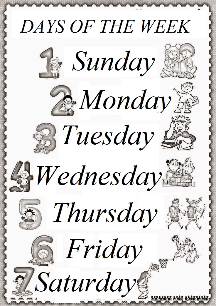 Days Of The Week Worksheet For Kids Preschool Crafts