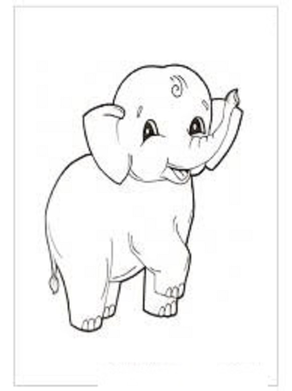 Elephant coloring pages for kids preschool and kindergarten for Elephant template for preschool