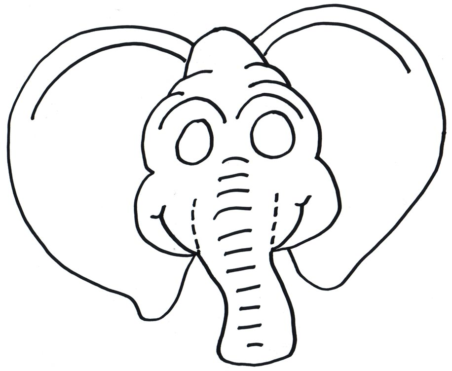 elephant mask and coloring page