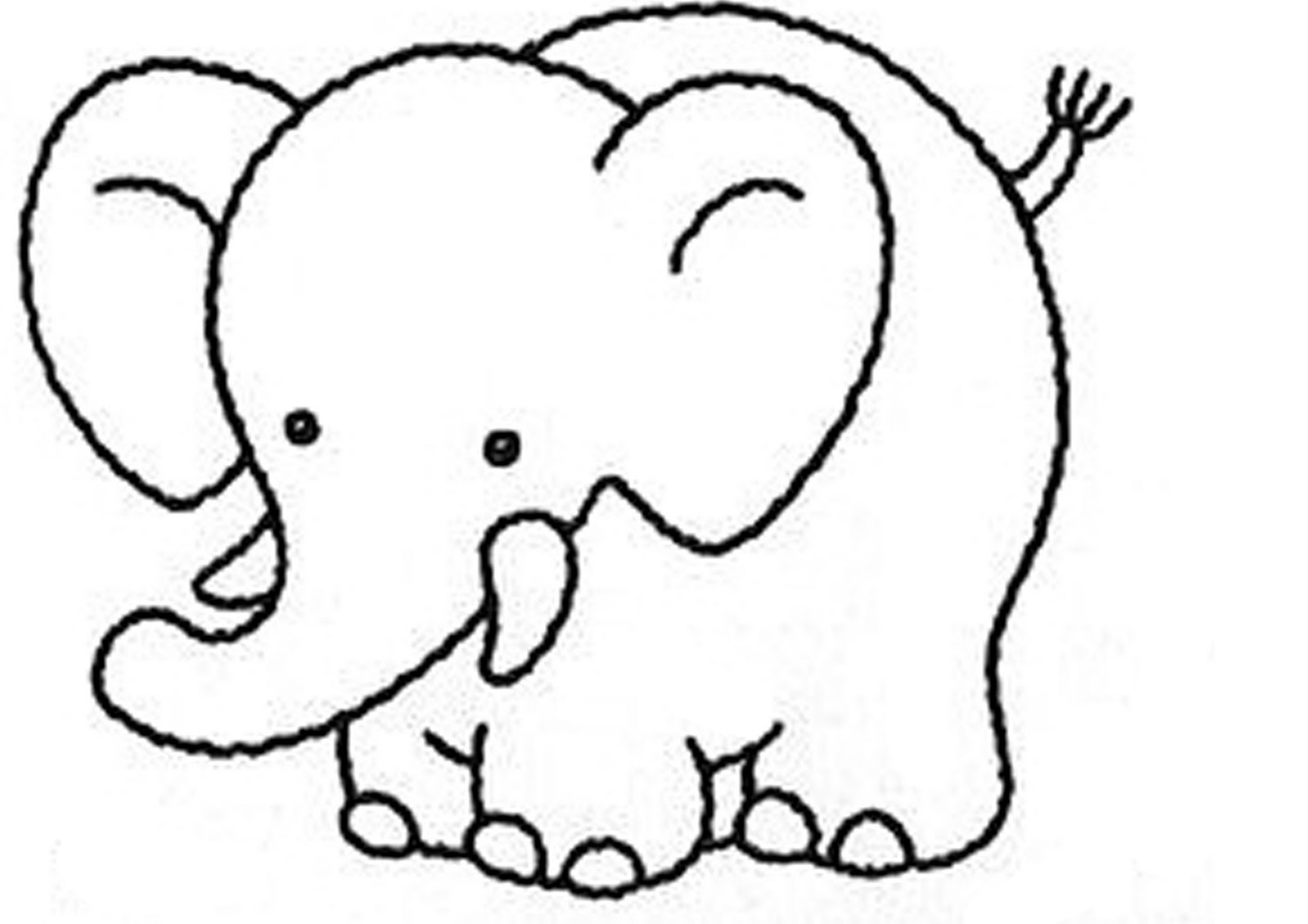 Elephant coloring pages for kids preschool and kindergarten for Elephant coloring pages