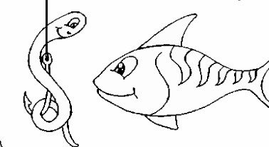 fish and worm coloring page
