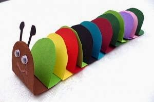 folding paper caterpillar craft