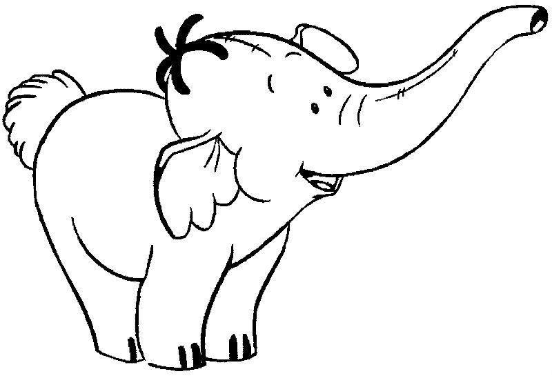 Free Animals Elephant Printable Colouring For Preschool