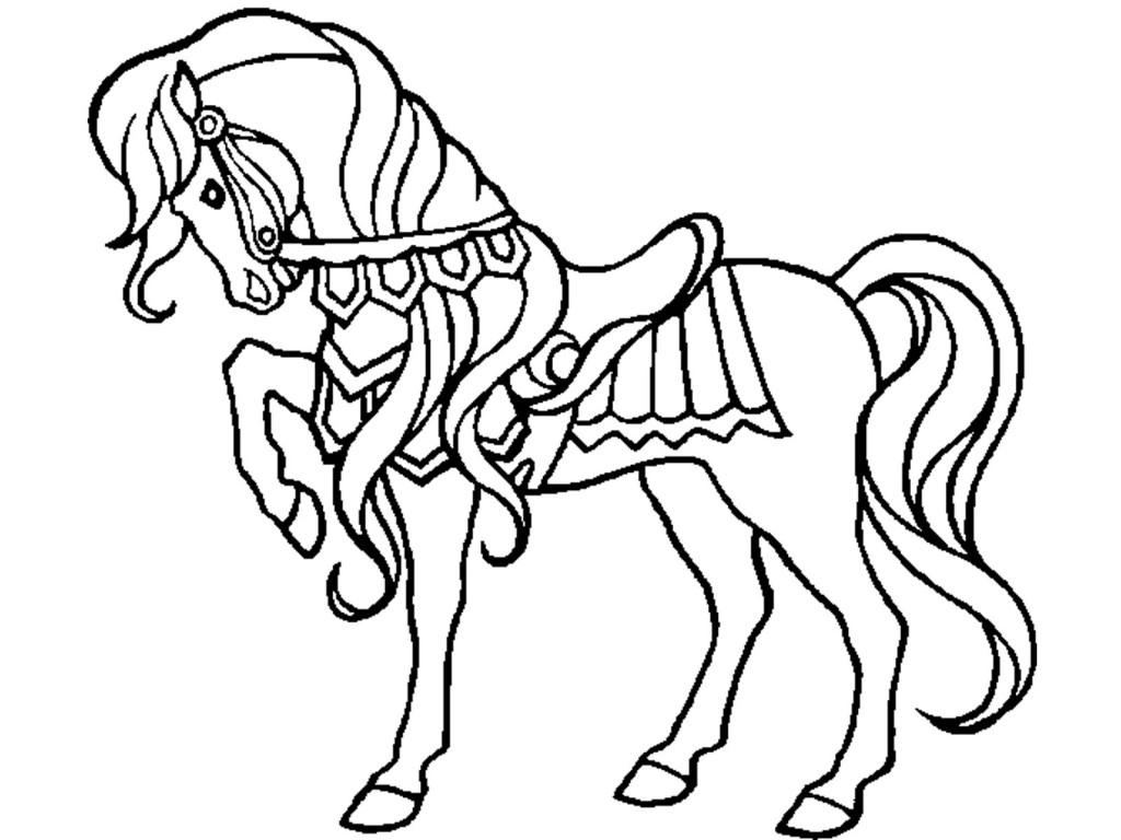 coloring page of a horse - horse coloring pages preschool and kindergarten