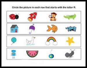 free circle that start letter r words worksheets
