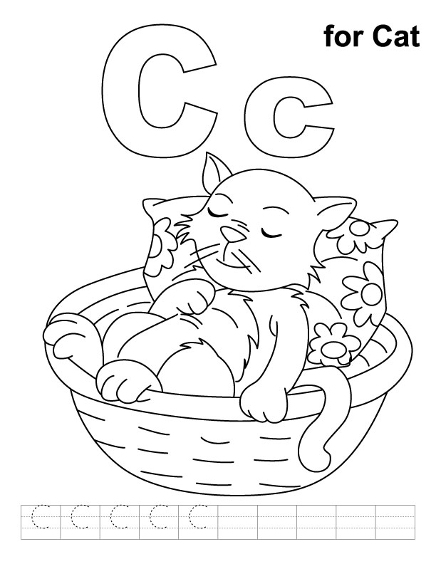 free letter c printable coloring pages for preschool