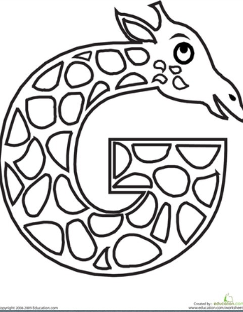 Free letter g printable coloring pages for preschools for Free printable letter g coloring pages