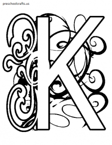free-letter k coloring pages for preschool and children