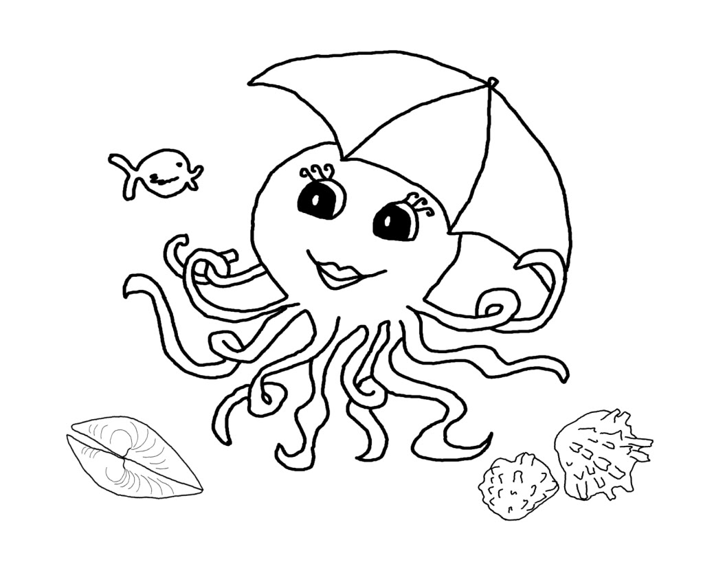 Octopus coloring pages preschool and kindergarten for Coloring page for preschool