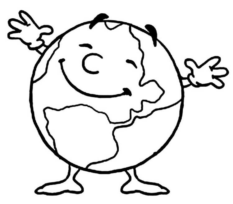 Earth day coloring pages preschool and kindergarten for Earth coloring page pdf