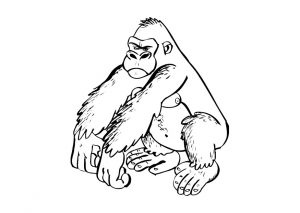 free_zoo_animal_gorilla_coloring_pages