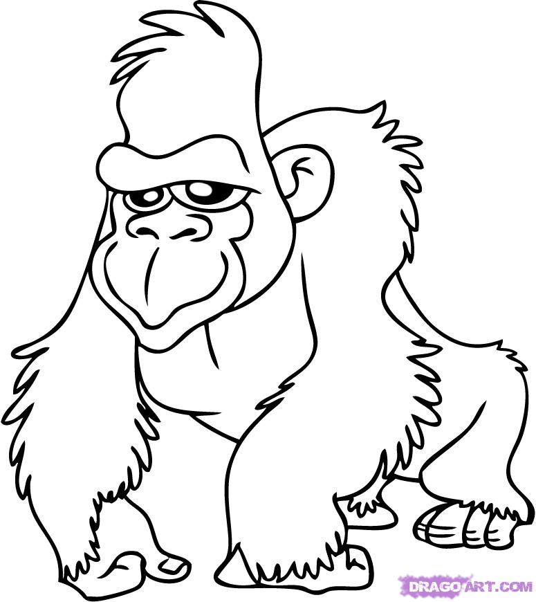 Gorilla Printable Coloring Pages For Preschool