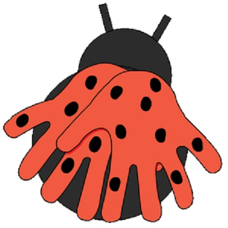 ladybug crafts idea with hand patterns