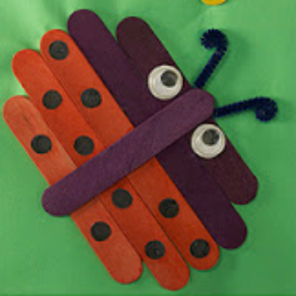 ladybug project idea with sticks for preschool