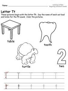 letter t to worksheets for kindergarten