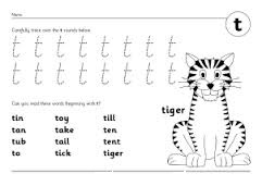 letter t writing practice worksheet