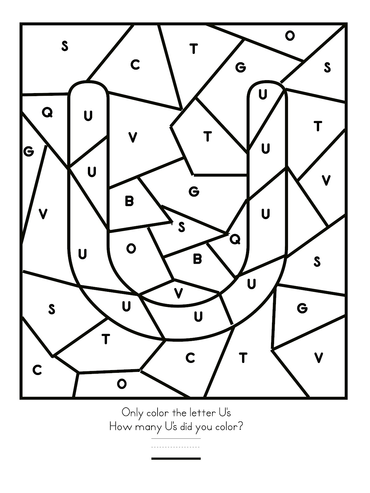 Letter u color worksheet for preschool preschool crafts for Letter u coloring pages
