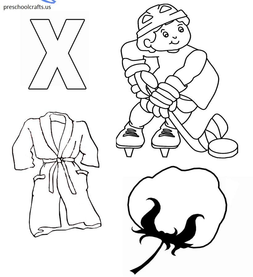 letter x coloring page alphabet - Preschool Crafts