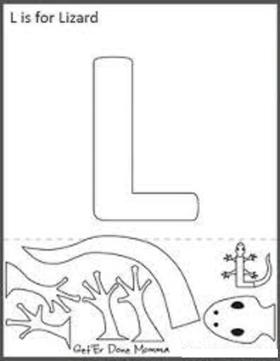 lizard template for letter l crafts
