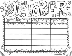 Printable Calendar Coloring Pages For Kids Preschool And - october coloring pages for kindergarten