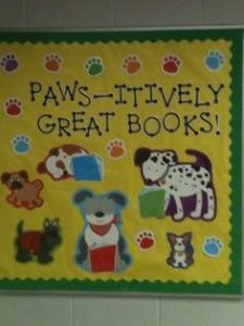 paws itively great books bulletin board