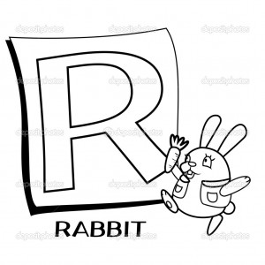 Coloring Alphabet for Kids, R with rabbit