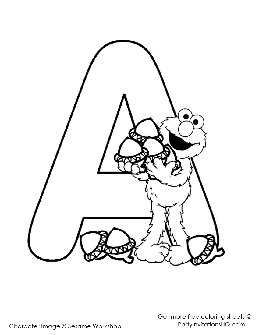 Free coloring pages elmo -  With Sesame Street Alphabet Coloring Page