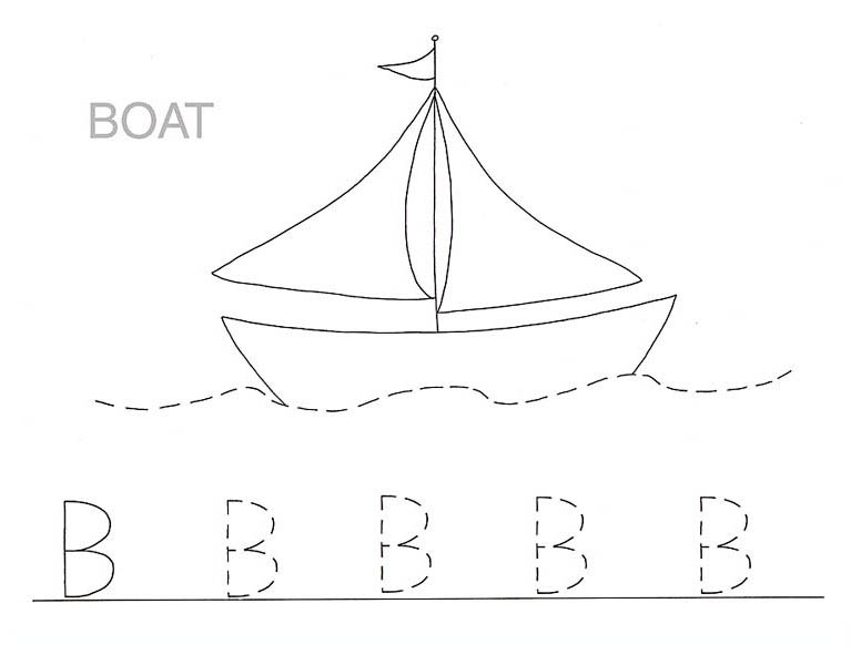Boat Is For Letter B Coloring Page Capital Tracing