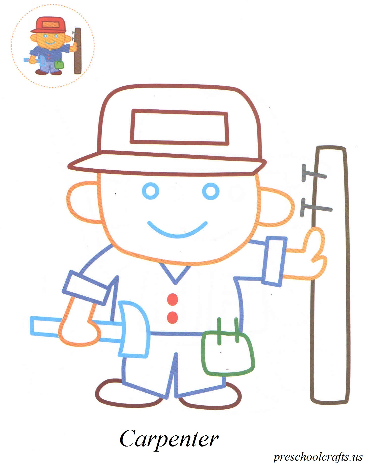 carpenter coloring pages preschool crafts