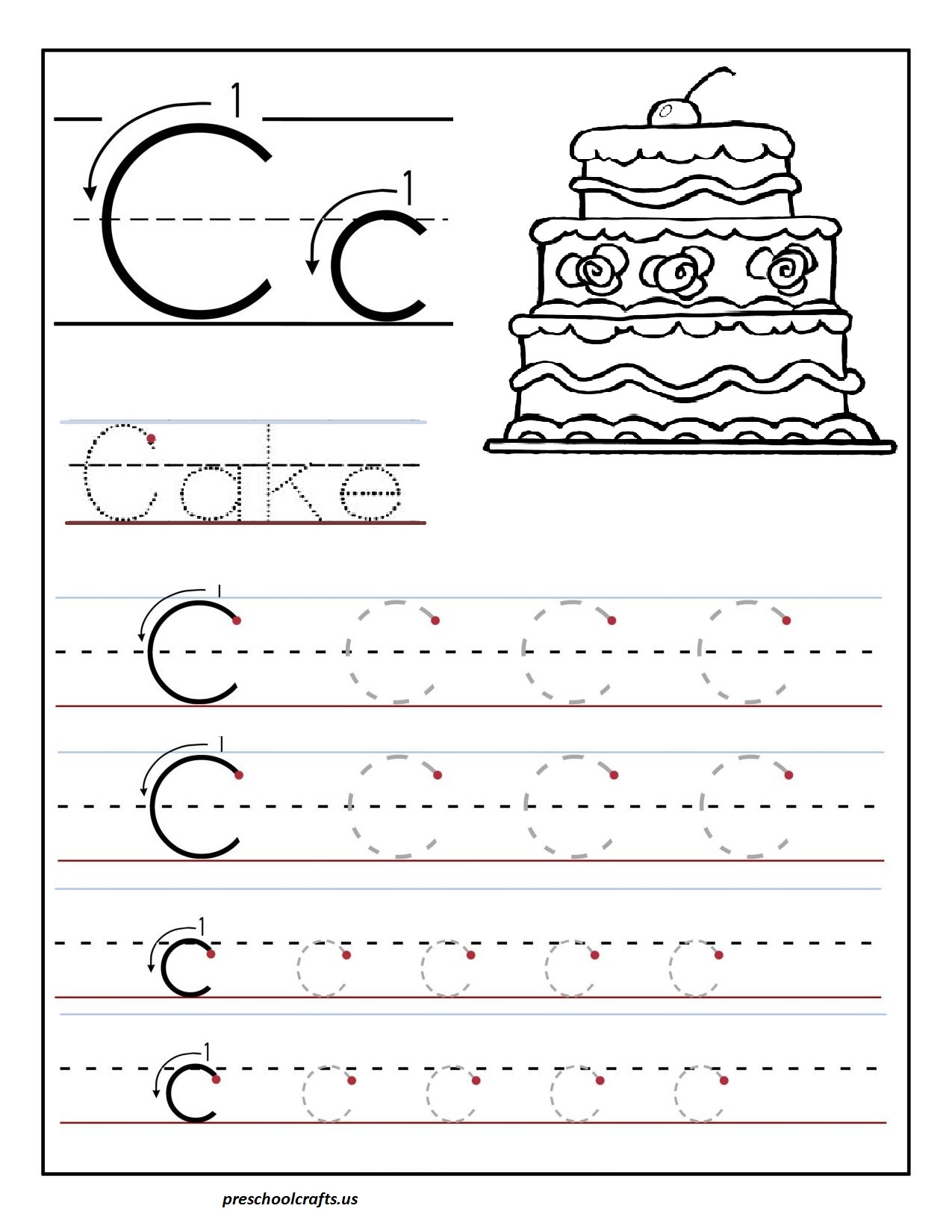 Letter A Worksheets For Preschoolers : Printable letter c tracing worksheets for