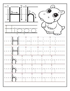 Printable letter H tracing worksheets for preschoolers
