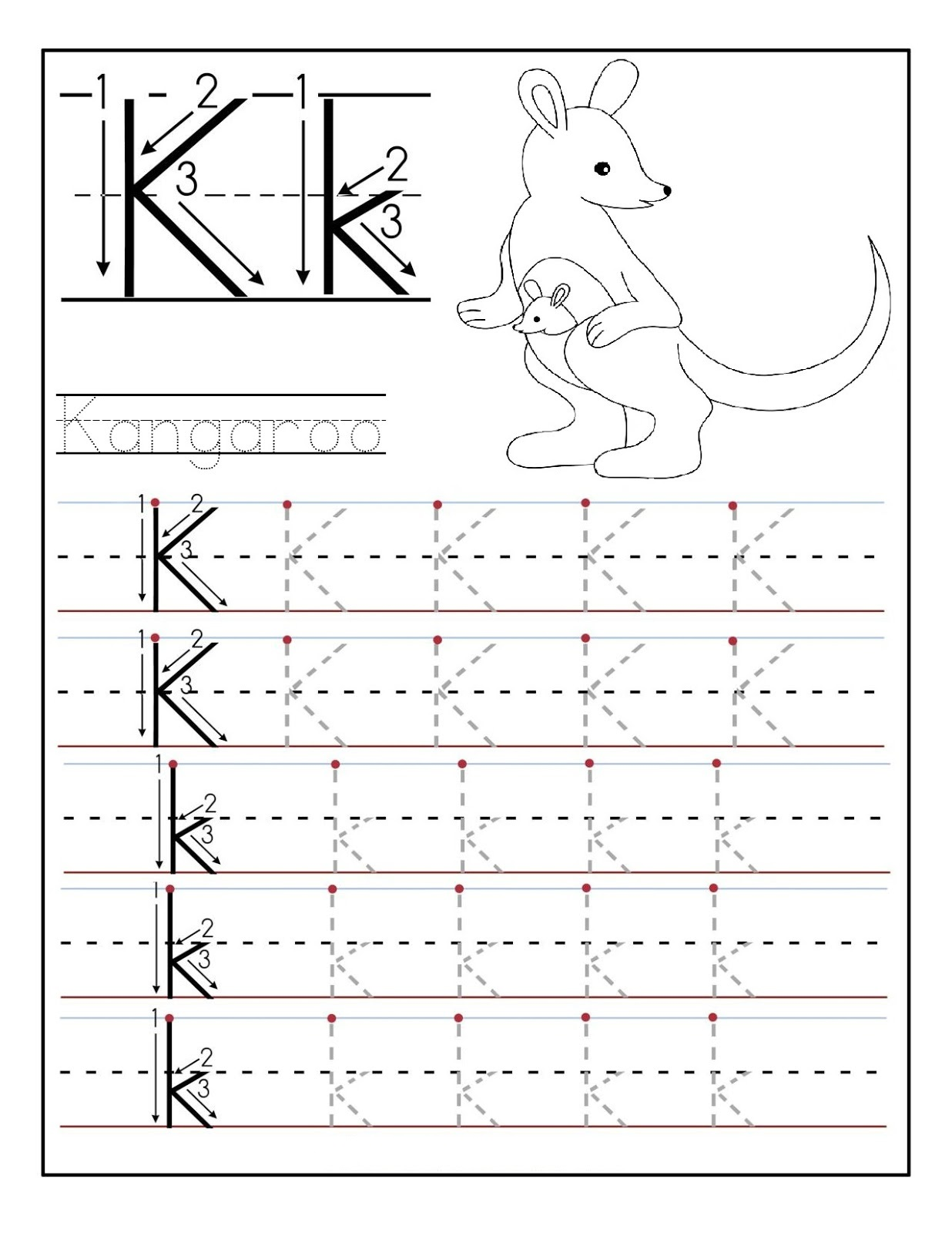 Printable letter K tracing worksheets for kindergarten ...