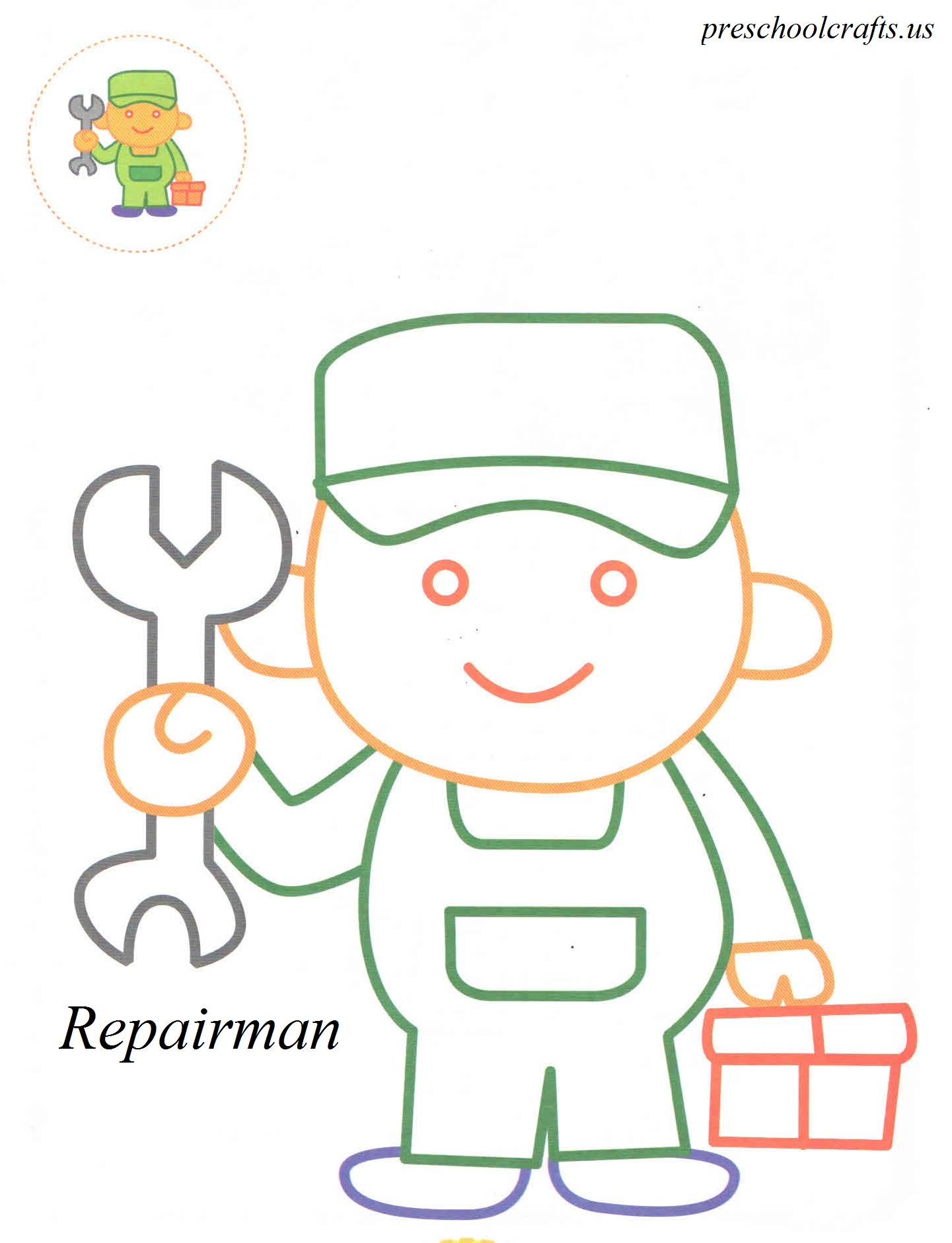 repairman coloring pages preschool crafts