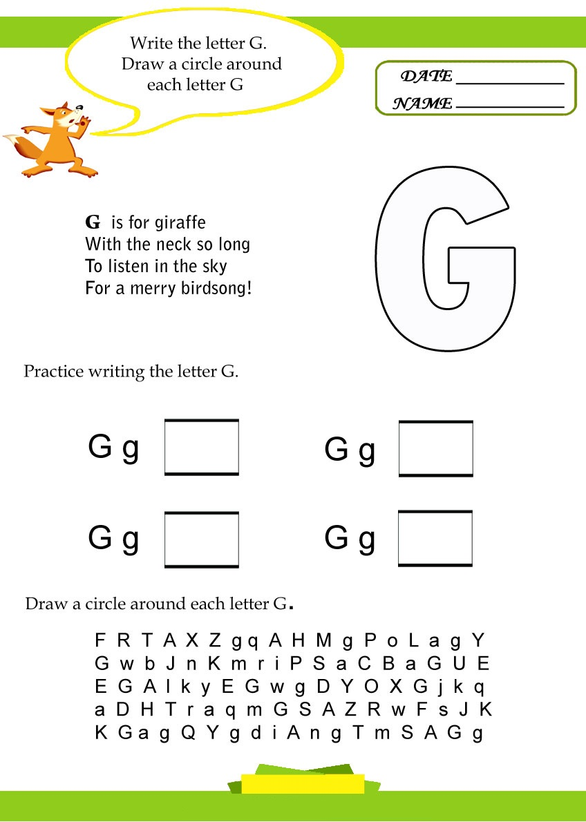 alphabet letter g worksheet preschool crafts. Black Bedroom Furniture Sets. Home Design Ideas