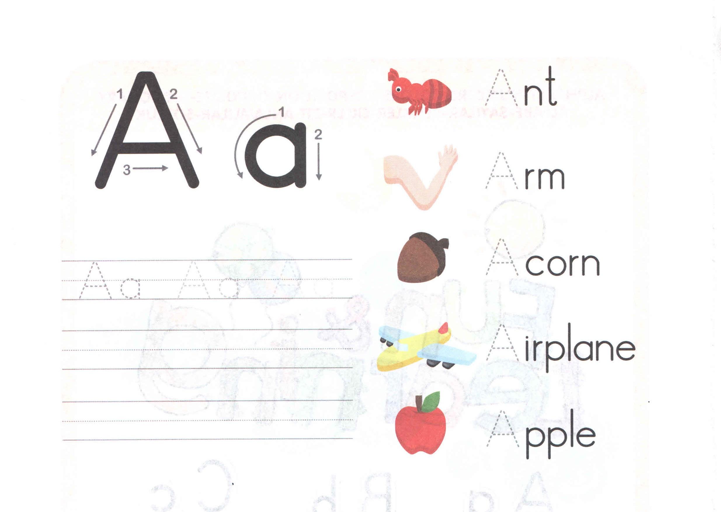 Aa worksheets for kindergarten