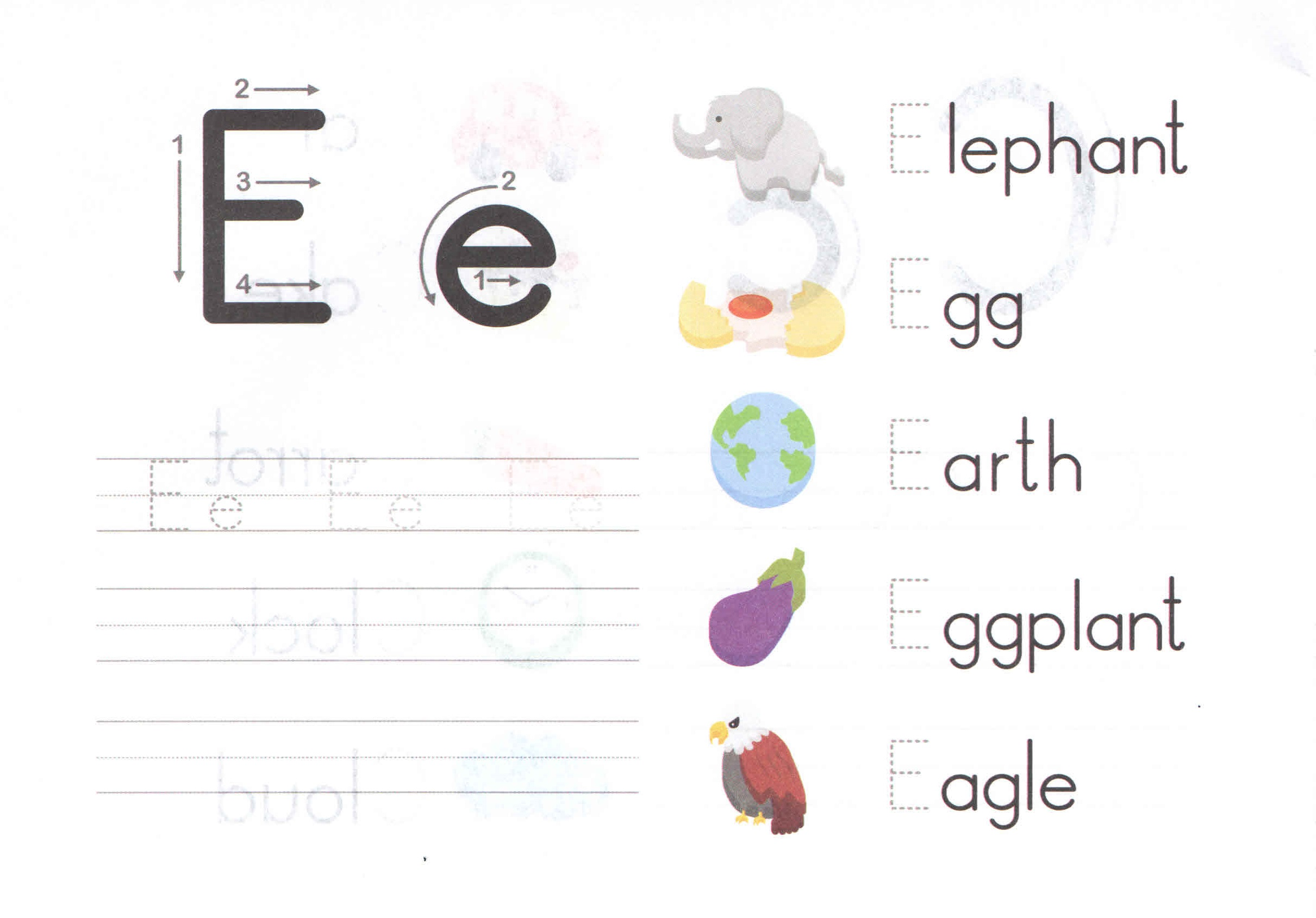 Alphabet Letters Worksheets for Kids Preschool and Kindergarten – Letter E Worksheets for Kindergarten