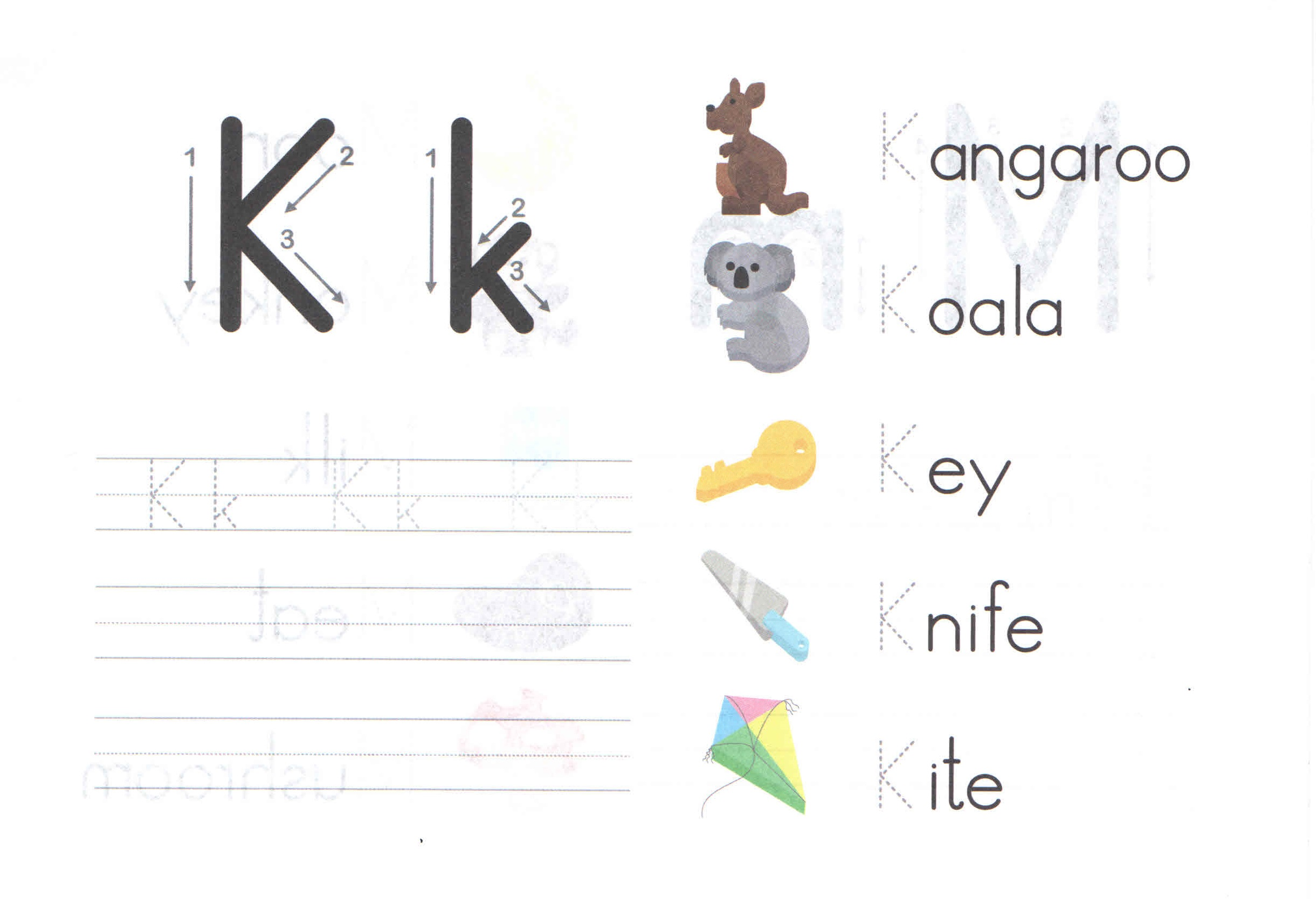 alphabet capital and small letter k k worksheet for kids preschool crafts. Black Bedroom Furniture Sets. Home Design Ideas