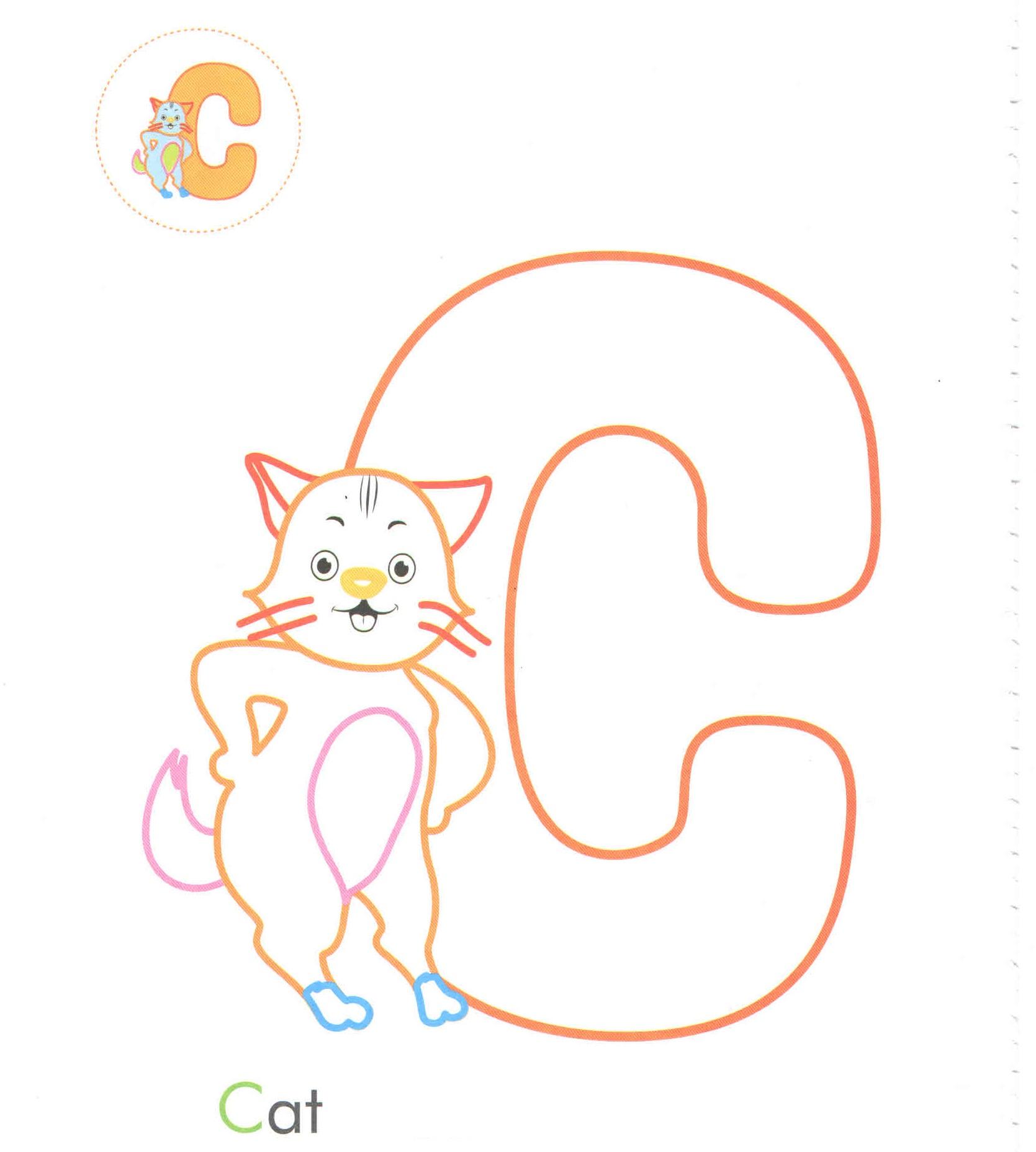 alphabet letter c cat coloring page for preschool preschool crafts. Black Bedroom Furniture Sets. Home Design Ideas