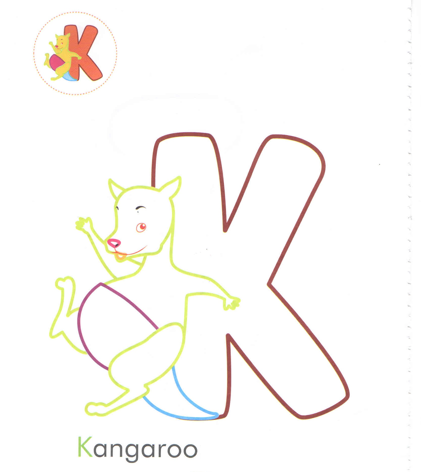 Alphabet Coloring Pages For Kindergarten Letter K Kangaroo Page Preschool